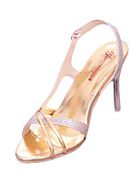 Women's Sandals Summer Sandals PU Casual Stiletto Heel Buckle Silver Others