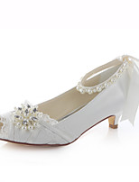Women's Shoes Stretch Satin Spring / Peep Toe Sandals Wedding / Pearl Ivory