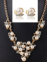 Temperament Butterfly Pearl Treasure Necklace +Earrings Bridal Jewelry