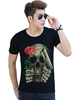 Men's Casual Printing Pistol with Flowers Design Black Skull 3D Casual T-shirt