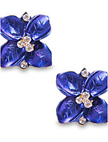 Personality Lovely Gorgeous Deep Blue Crystal Stud Earrings