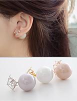 Earring Circle / Star Jewelry Women Fashion Wedding / Party / Daily Zircon / Gem 1 pair White / Yellow / Gray