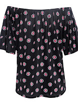 Women's Casual/Daily Simple / Cute Summer Blouse,Print Strapless Short Sleeve Black Polyester Thin