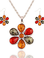 Fashion Multicolored Gems Luxury Colorful Flowers Necklace Earrings Jewelry Sets