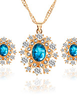 Europe Crystal Alloy With Rhinestone Necklace Snowflake Earrings Necklace Set Women's Wedding Jewelry Bridesmaids Gifts