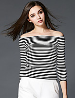 Women's Striped Black Cardigan,Sexy / Simple / Street chic Long Sleeve