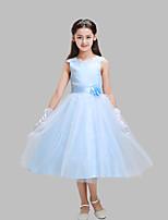 A-line Tea-length Flower Girl Dress-Cotton / Lace / Satin / Tulle Sleeveless