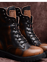 Women's Shoes Leather Fall / Winter Combat Boots Boots Outdoor / Casual Chunky Heel Others Black / Brown
