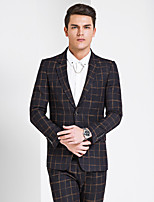 Suits Standard Fit Slim Notch Single Breasted Two-buttons Checkered / Gingham 1 Piece Yellow Straight Flapped