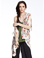 Women's Going out / Casual/Daily Vintage Summer Blouse,Floral Round Neck ½ Length Sleeve Red / Purple Polyester Thin