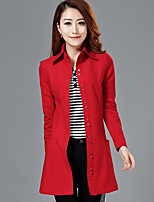 Women's Casual/Daily Simple Trench Coat,Solid Shirt Collar Long Sleeve Winter Red / Black Wool Thick
