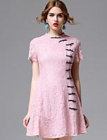 AFOLD® Women's Stand Short Sleeve Knee-length Dress-5663