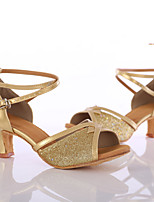 Women's Latin Paillette Heel Indoor Customized Heel Gold Customizable