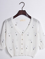 Women's Casual/Daily Simple Regular Cardigan,Polka Dot  Round Neck Long Sleeve Cotton Summer Thin