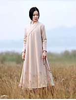 Women's Casual/Daily Chinoiserie Trench Coat,Solid Shirt Collar Long Sleeve Fall / Winter Beige Wool Medium