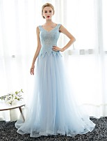 Formal Evening Dress Sheath / Column V-neck Floor-length Tulle / Sequined with Crystal Detailing