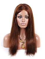16-26 Inch 10A straight Brazilian virgin hair lace front wigs human hair medium brown color wig for fashion women