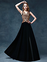 Formal Evening Dress Ball Gown V-neck Floor-length Lace / Satin with Appliques