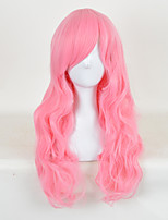 High Quality Natural Long Curly Pink Color Synthetic Wig For White Women