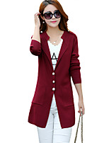 Women's Casual/Daily Street chic Long Cardigan,Solid Red / Black / Gray V Neck Long Sleeve Cotton / Acrylic Spring / Fall / Winter Medium