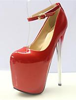 DamenKleid-Kunstleder-Stöckelabsatz-Rundeschuh-Rot