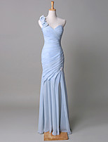 Floor-length Chiffon / Satin / Tulle Bridesmaid Dress Trumpet / Mermaid One Shoulder with Flower(s) / Side Draping
