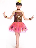 Performance Dresses Children's Performance Polyester Sequins 1 Piece Green / Red