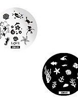 2pcs Marine Animals Nail Printing Plate