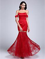 Serata formale Vestito A sirena Con decorazione gioiello Lungo Di pizzo / Raso con Di pizzo