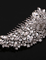 여성 진주 / 라인석 / 크리스탈 / 합금 투구-웨딩 / 특별한날 / 캐쥬얼 머리 빗 1개 화이트 둥근 12.5*6.5cm