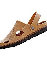 Sapatos Masculinos-Sandálias-Preto / Marrom-Couro Ecológico-Casual