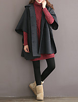 Women's Casual/Daily Street chic Coat,Solid Hooded ½ Length Sleeve Fall / Winter Gray Cotton Medium