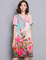 Women's Going out / Plus Size Chinoiserie Sheath Dress,Floral V Neck Above Knee Short Sleeve Pink Silk All Seasons
