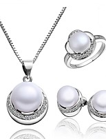 Platinum Plated diamond ball flower pearl jewelry set for women party necklace/ring/earring  Bridal Jewelry Sets S003
