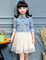 Girl's Casual/Daily Striped Dress / Jeans / Jacket & Coat,Rayon / Polyester Spring / Fall Blue