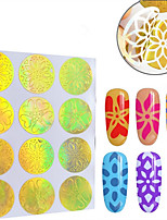 12pcs Different Styles Hollow Vinyls Nail Art Stamp Stamping Stencil Nail Sticker Guide Manicure Nail Tools