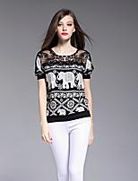 BOMOVO® Women's Round Neck Long Sleeve Shirt & Blouse Black-B16CQN8