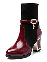Women's Shoes Chunky Heel Fashion Boots / Round Toe Boots Dress / Casual Black / Red / White