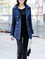 Women's Going out / Casual/Daily Simple / Street chic Coat,Solid Peaked Lapel Long Sleeve Fall Blue / Red