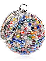 L.WEST Women's The Elegant Luxury Handmade The Spherical Color Pearl Diamonds Evening Bag