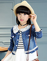 Girl's Casual/Daily Lace Patchwork Denim Ruffled Hemline Coat Jeans