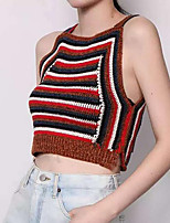 Women's Casual/Daily Street chic All Match Fashion Summer Tanks,Striped Strap Sleeveless