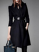 Women's Casual/Daily Simple Coat,Solid Notch Lapel Long Sleeve Winter Black Wool Thick