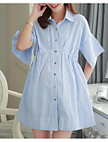 Maternity Casual/Daily Simple Loose Dress,Striped Shirt Collar Above Knee ½ Length Sleeve Blue Rayon Spring