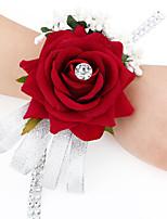 Ramos de Flores para Boda Forma Libre Rosas Ramillete de Muñeca Boda / Fiesta / noche Fucsia / Rojo / Verde / Beige Satén Aprox.12cm