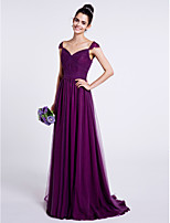 스윕 / 브러쉬 트레인 튤 신부 들러리 드레스 A-라인 스윗하트 와 드레이핑 / 루시 주름 장식