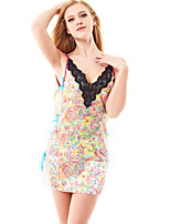 Women's Plus Size Ultra Sexy Print Straps Nightwear with T-back , Nylon / Polyester