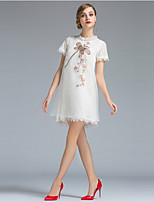Women's Going out Simple Loose Dress,Print Round Neck Mini Short Sleeve White Polyester Summer Mid Rise