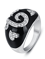 2016 Fashion Heart Shape White Zircon Rhodium Plated Alloy Party Rings For Men
