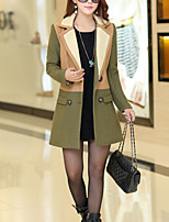 Mulheres Casaco Happy-Hour / Casual Simples / Moda de Rua Outono / Inverno,Color Block Azul / Verde Lã Colarinho de Camisa-Manga Longa